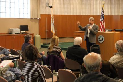 U.S. Congressman Schrader at a Lake Oswego town hall meeting.
