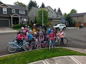 Neighborhood kids gathered to ride bikes